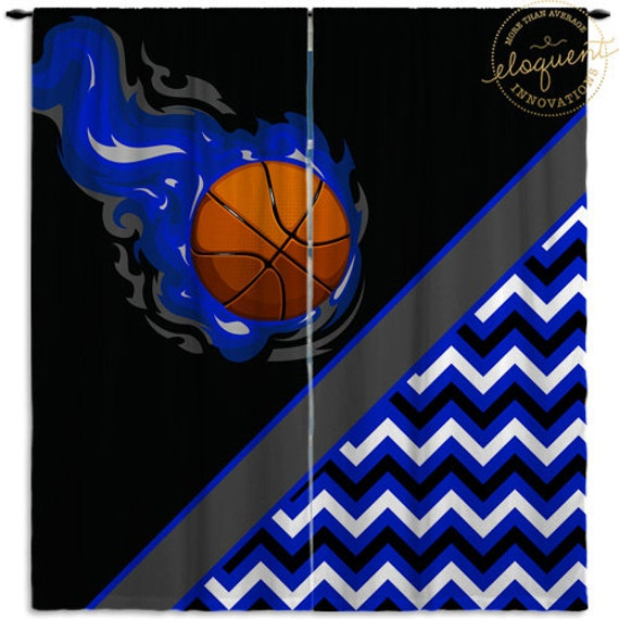 Boys Basketball Curtains Sports Window Black With
