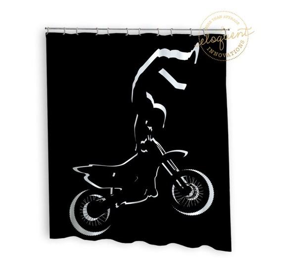 Dirt Bike Shower Curtain Motocross Black And White