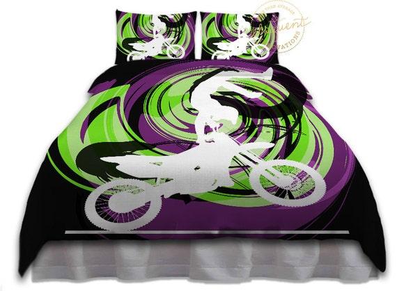 Motocross De Literie Pour Les Garcons En Vert Noir Violet Etsy