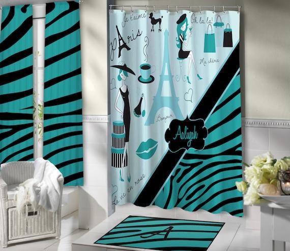 Stylish Paris Shower Curtain Aqua Blue Bathroom Theme Eiffel