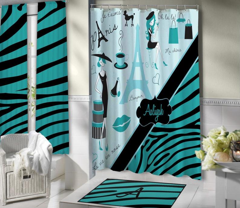 Stylish Paris Shower Curtain Aqua Blue Bathroom Theme Eiffel Tower Fabric Bright Colored Set Zebra Print 147