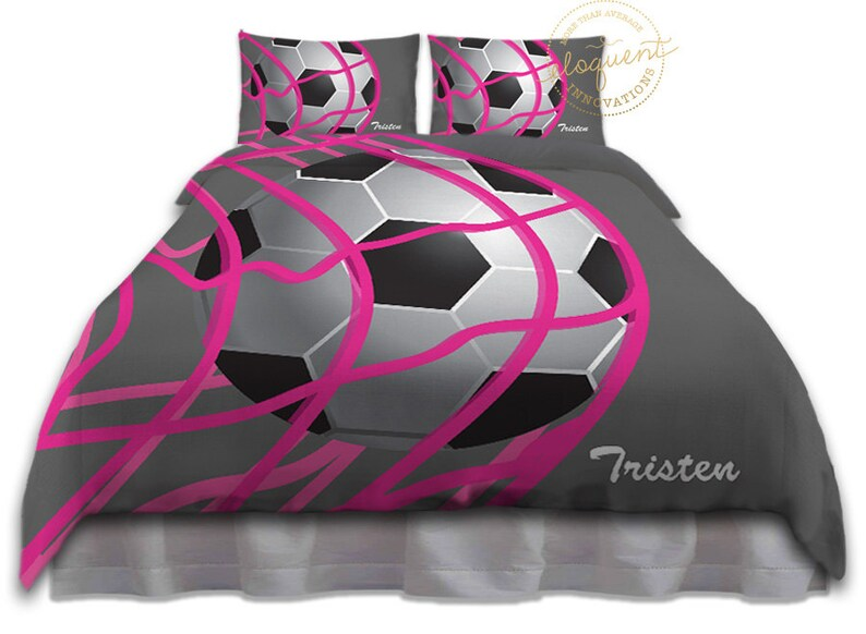 Fußball Bettwäsche Für Kinder Mädchen Duvet Cover Grau Etsy