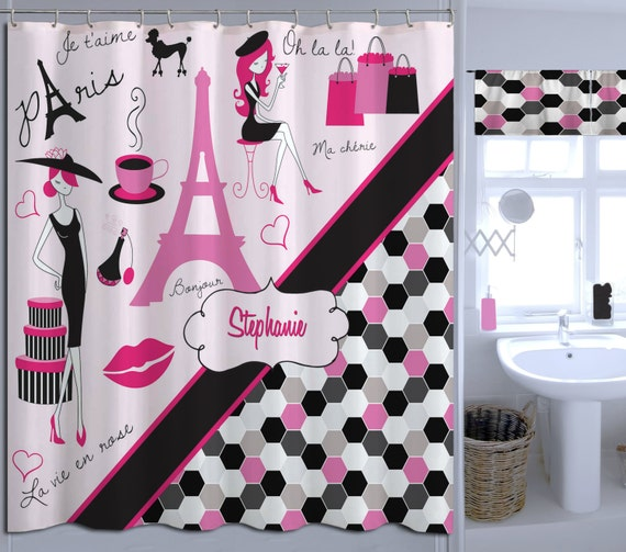 Fabric Paris Shower Curtain Personalized