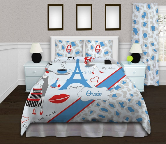 Linge De Lit Theme Paris Tour Eiffel Literie Guepard Bleu Etsy