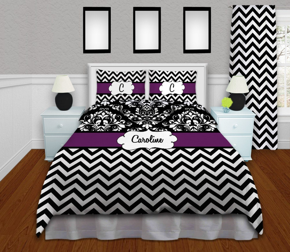 Chevron Comforter Black White Chevron Bedding Purple Etsy