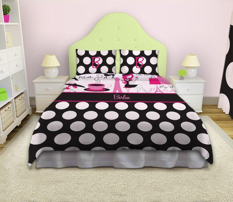 Paris Theme Bedding Paris Bedding Queen Size For Girls Polka Etsy