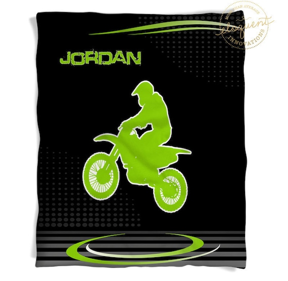 Dirt Bike Blanket Personalized With Your Name In Green And