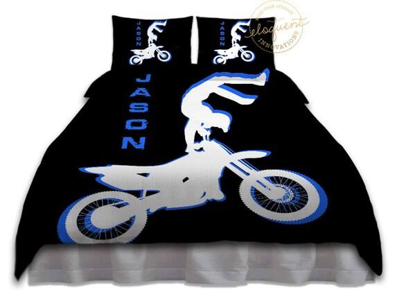 Literie De Motocross Pour Enfant Housse De Couette Bleu Etsy