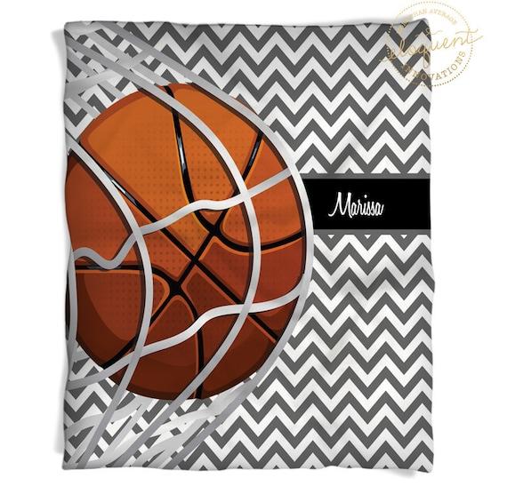 60a72bd003 Basketball Fleece Blanket - Sports Thow Gray   White Chevron - Basketball  Blanket - Kids Personalized  259