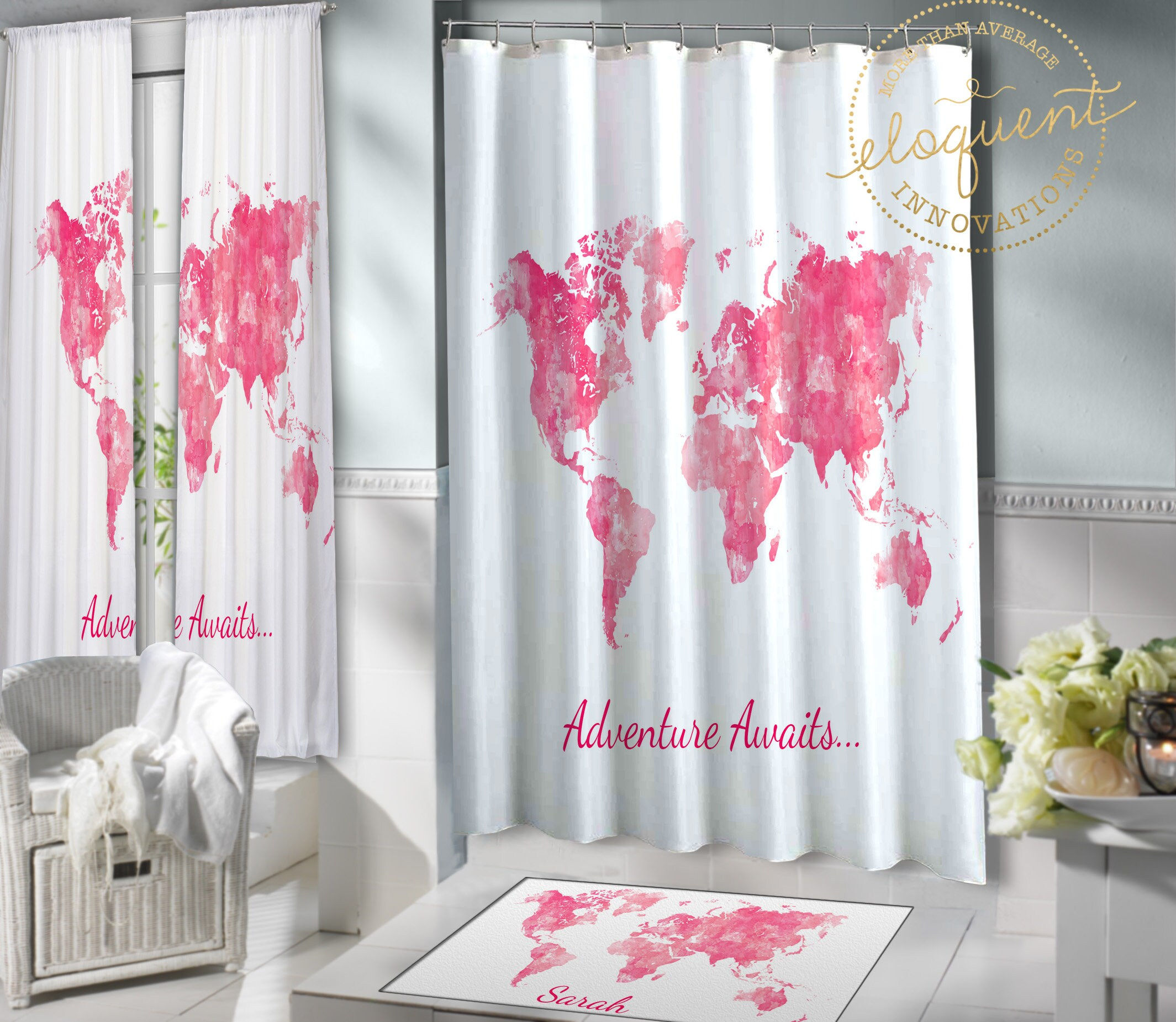 World Map Shower Curtain Fabric Can Be Personalized With Name Pink Watercolor Kids Girls Bathroom Rug Adventure Awaits 398