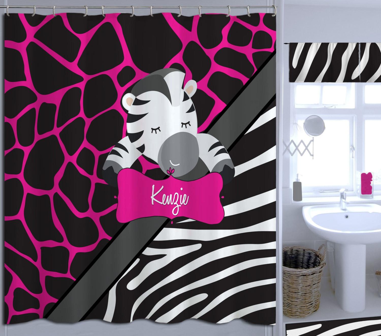 Kids Shower Curtains Zebra Print Shower Curtain Pink Shower Curtain Animal Monogrammed Shower Curtain 8