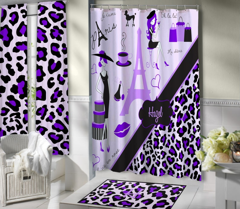 Lavender Paris Shower Curtains Themed Bathroom Sets