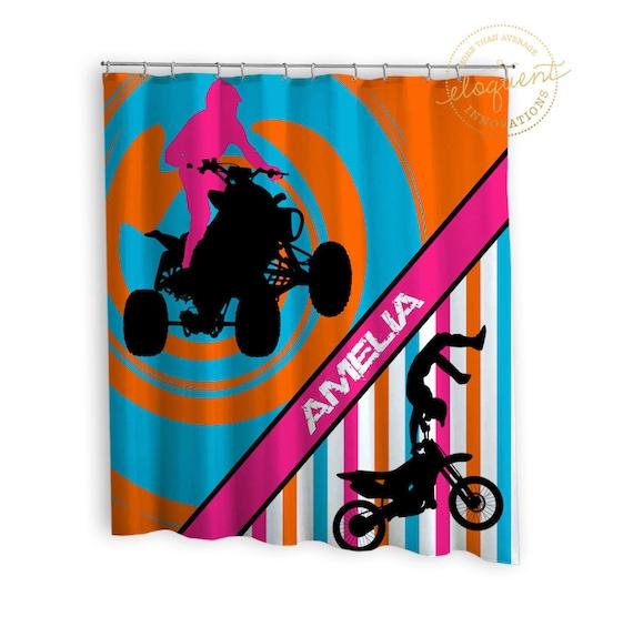 Dirt Bike Shower Curtain Girls ATV Sports Pink Orange