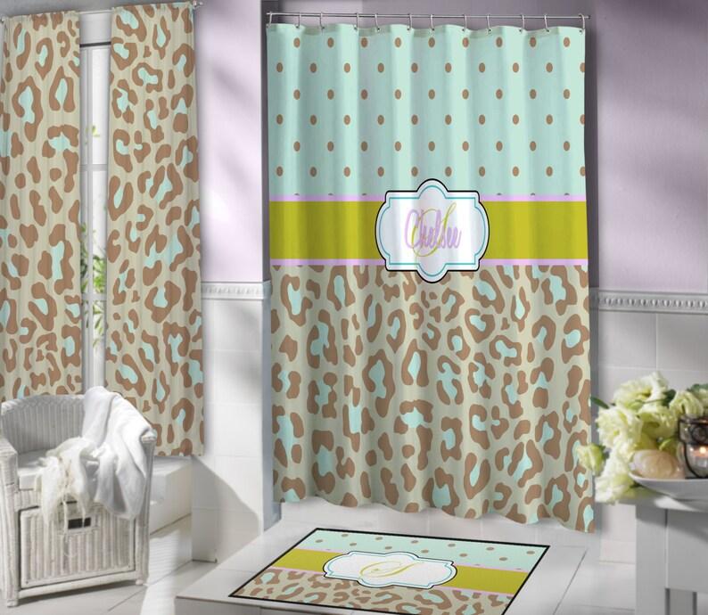 Mint Green Cheetah Print Shower Curtain Brown Fabric