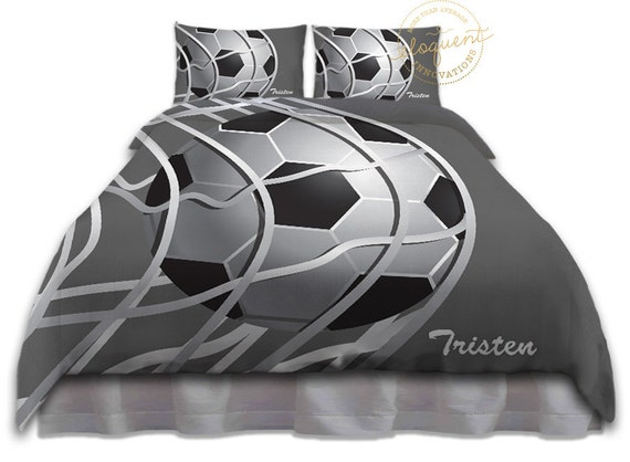 Soccer Ball Comforter Sets Bedding Grey White Soccer Comforter Kids Sports Personalized King Queen Full Twin Xl 267