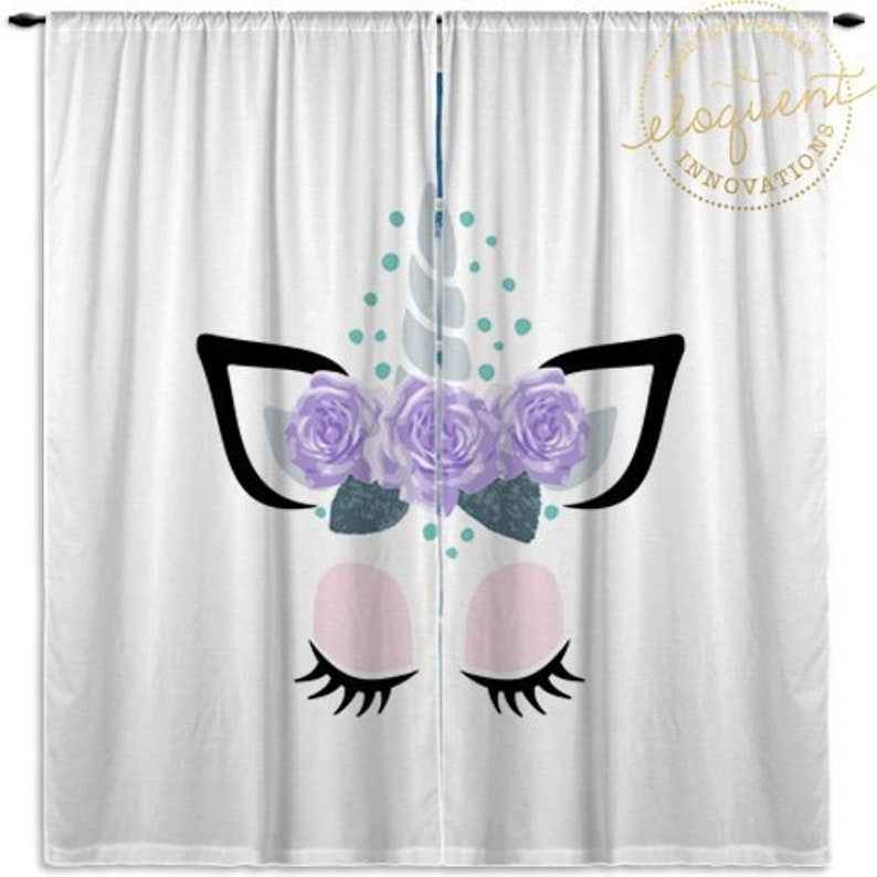 Unicorn Curtains Pink Purple Window Curtain Panels Etsy