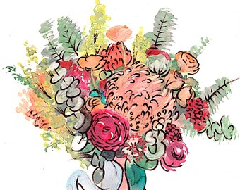 custom bouquet watercolor FREE SHIPPING // flower drawing // wedding bouquet painting // floral watercolor // wedding gift  // watercolor