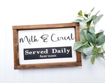 Farmhouse Signs - Milk and Cereal Sign - Kitchen Decor - Kitchen Signs - Farmhouse Decor - Farmhouse Kitchen Decor - Farmhouse Framed Signs