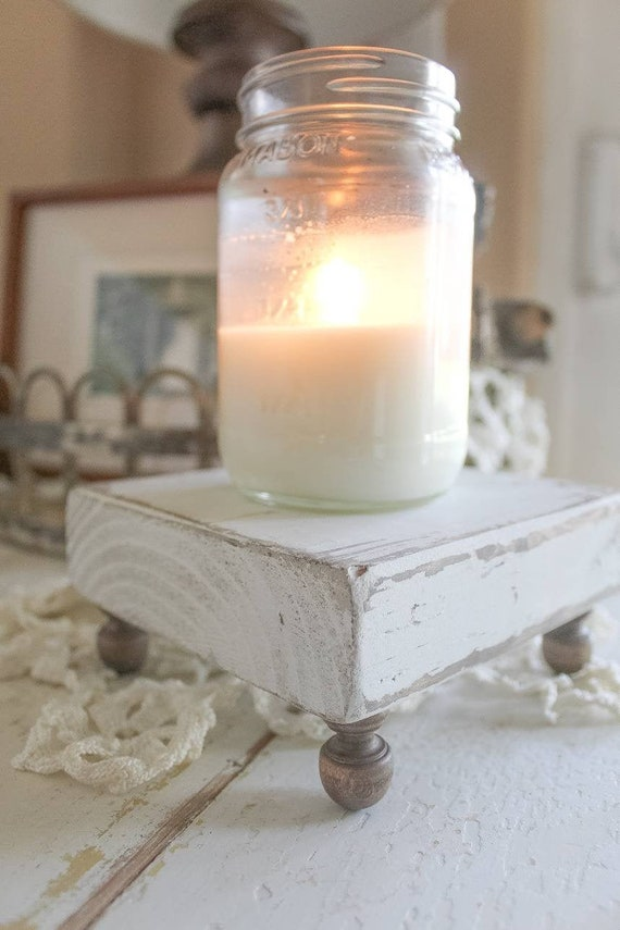 Wood Tray Decorative Tray Pedestal Riser Candle Tray Farmhouse Decor Farmhouse Tray Cottage Decor Plant Stand Candles Custom Colors