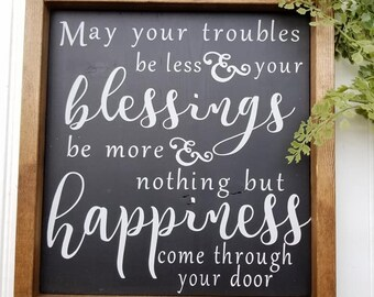 Blessing Sign - Happiness Sign - Farmhouse Decor - Farmhouse Signs - Welcome Sign - Framed Wood Sign - Framed Sign - Happiness and Blessings