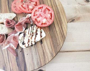 Cutting Board Charcuterie Board 15 inch Round Serving Tray Reversible Cutting Board Cheese and Meat Platter Teakwood Cutting Board