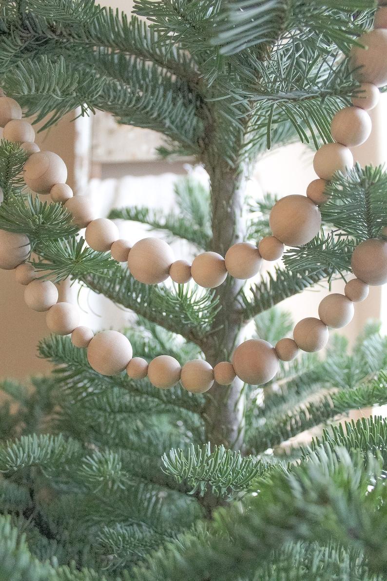 Wood Bead Garland Farmhouse Christmas Decor Christmas Tree Etsy