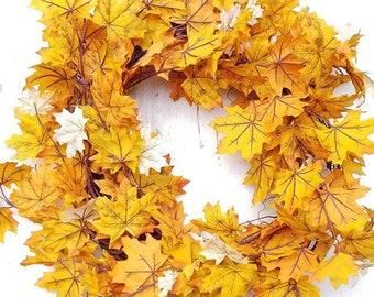 Fall Wreath Modern Farmhouse Wreaths Large Front Door Wreath Autumn Wreath Orange Maple Leaf Wreath