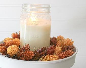 Fall Wreath Mini Wreath Modern Farmhouse Wreath Faux Dried Hops Wreath Candle Ring Accent Decor Tablescape Decor