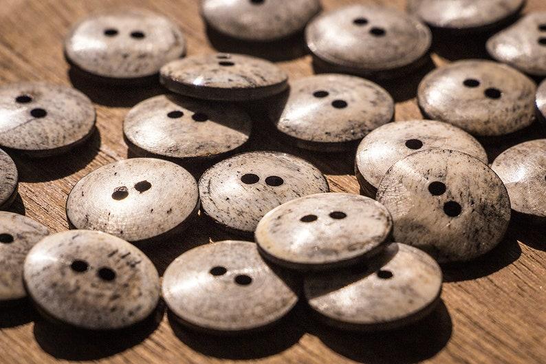 10 Pcs Bone buttons natural handcrafted buttons crochet Gray
