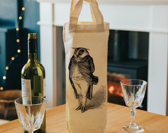 water or beer TONNELIER  blue and white Original reusable tote bag for bottle of wine gift idea man silkscreen cotton and cork