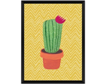Cactus wall art, picture, print, illustration, poster,wall decor, A4, A3,  yellow