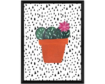 Cactus wall art, picture, print, illustration, poster,wall decor, A4, A3, pink flower