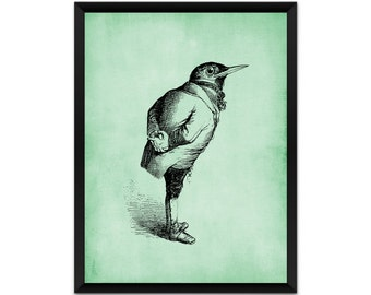 Picture, print, bird in a suit wall art, illustration, poster,wall decor, A4, A3