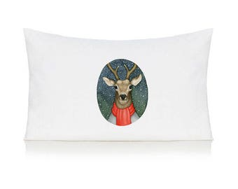Stag in a scarf pillow case, cushion, bedding, pillow cover