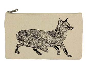 Pencil case/ stationary/fox/ pencil pouch/ canvas bag/ pencil holder/ make up bag/ school supplies