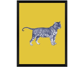 Picture, print, tiger on yellow wall art, illustration, poster,wall decor, A4, A3