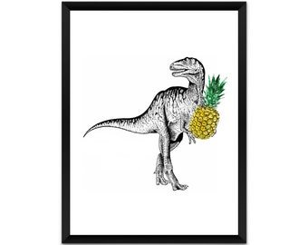 Dinosaur with  pineapple  wall art, picture, print, illustration, poster,wall decor, A4, A3