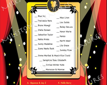 Red Carpet Celebrity Baby Matching Game for Digital Download