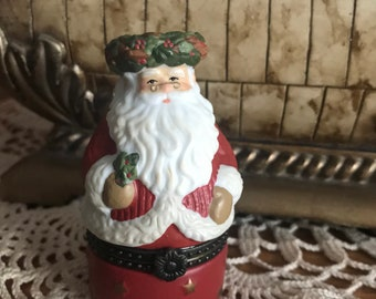Stocking Stuffer by JCM Christmas Decoration Vintage pair of  Santa Claus Trinket Boxes  3 14 tall