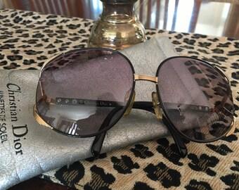 fb1454986ae 1980 s vintage big Christian Dior made in Austria sunglasses with original  case