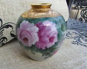 Gorgeous Hand Painted Gold and Floral Porcelain Vase