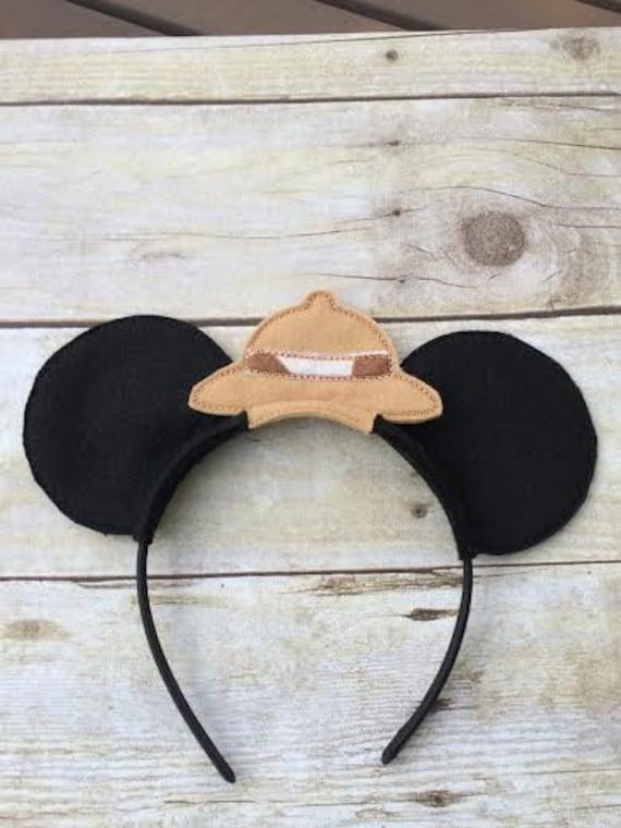 Mickey and Minnie Mouse ears headwear Safari hat giraffe trim | Etsy