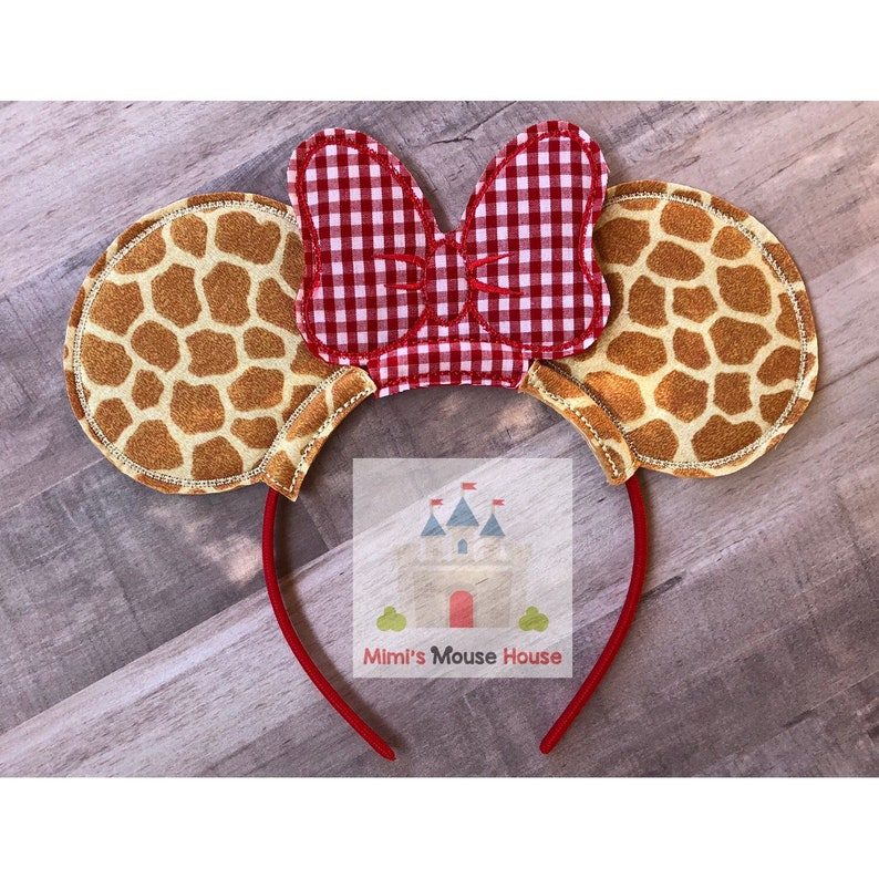 9c5abb3862f9a Minnie Mouse Safari Ears. Giraffe print Mouse Ears with Red