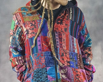 PATCHWORK JACKET Colourful Hippy Pixie Psytrance Festival UNISEX One Size Summer
