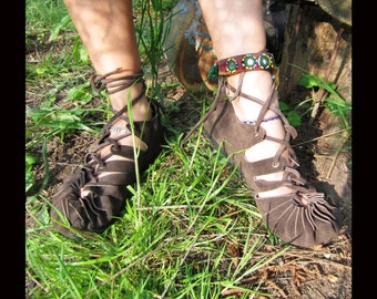 Pixie Sandals Leather BROWN COLOUR Hippy Psytrance Festival Boho Ethnic Party Wear