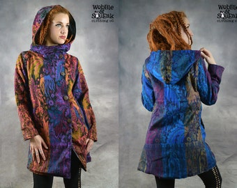 HOODED WOOLEN JACKET Colourful Warm Cowl Hood Fitted Psytrance Festival Hippy Fairy