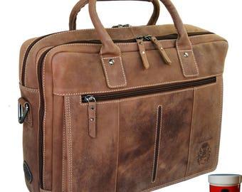 Laptop bag - Business bag CHAPLIN brown ECO-leather