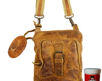 Shoulder Bag - Crossbag JAMIL made of brown Rugged Hide leather - BARON of MALTZAHN