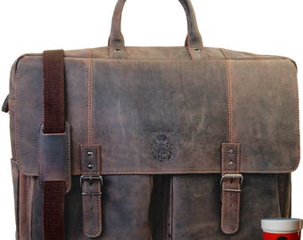 Huge 21 inch briefcase VAN GOGH made of buffalo leather