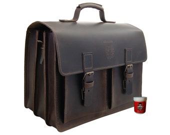 Large Briefcase - Laptop bag EINSTEIN 2.0 brown leather - BARON of MALTZAHN